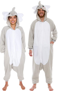 Silver Lilly Unisex Adult Pajamas - Plush One Piece Cosplay Elephant Animal Costume