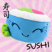 "Load image into Gallery viewer, iscream Kawaii Sushi Shaped Plush Fleece 12"" x 12"" Microbead Pillow with Embroidered Accents"