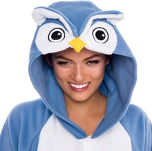 Load image into Gallery viewer, Silver Lilly Unisex Adult Pajamas - Plush One Piece Cosplay Owl Animal Costume