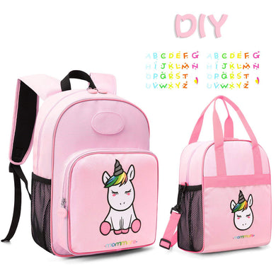 mommore Cute Unicorn Kids Backpack with Insulated Lunch Bag for Boys/Girls