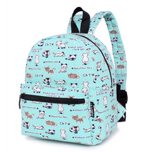 Load image into Gallery viewer, Lightweight Canvas Mini Backpack for Women, Teens and Kids (Cat Grey Small V2)