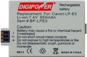 Digipower BP-LPE5 digital camera battery, Replacement for Canon LP-E5 battery pack
