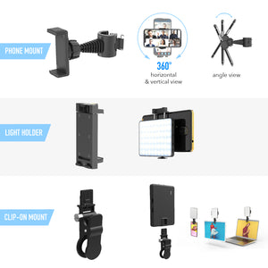 The Achiever - Video Call Pro kit with 60 LED Light, Stand & Smartphone Holder