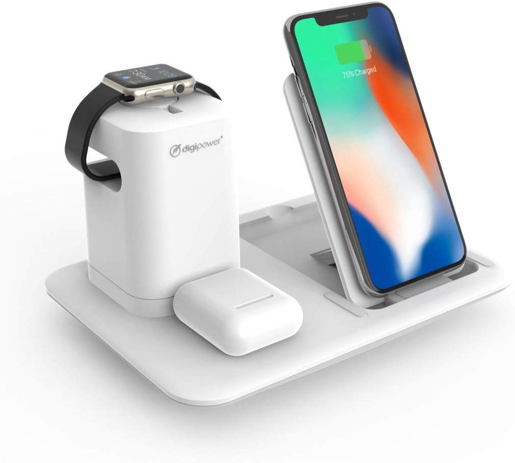 3 In 1 Wireless Charging Station For Iphone Apple Watch Airpods Digipower,White Shaker Kitchen With Marble Countertops