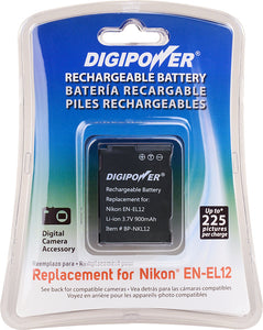 Digipower - BP-NKL12 digital camera battery, Replacement for Nikon EN-EL12 battery pack