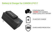 Load image into Gallery viewer, Digipower BP-LPE17 digital camera battery & charger kit, Replacement for Canon LP-E17 battery pack