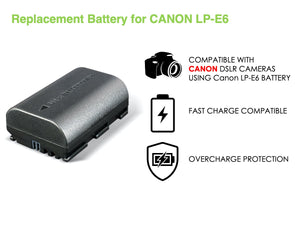 Digipower BP-LPE6 digital camera battery, Replacement for Canon LP-E6 battery pack