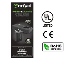 Digipower BP-FW50 digital camera battery & charger kit, Replacement for Sony NP-FW50 battery pack