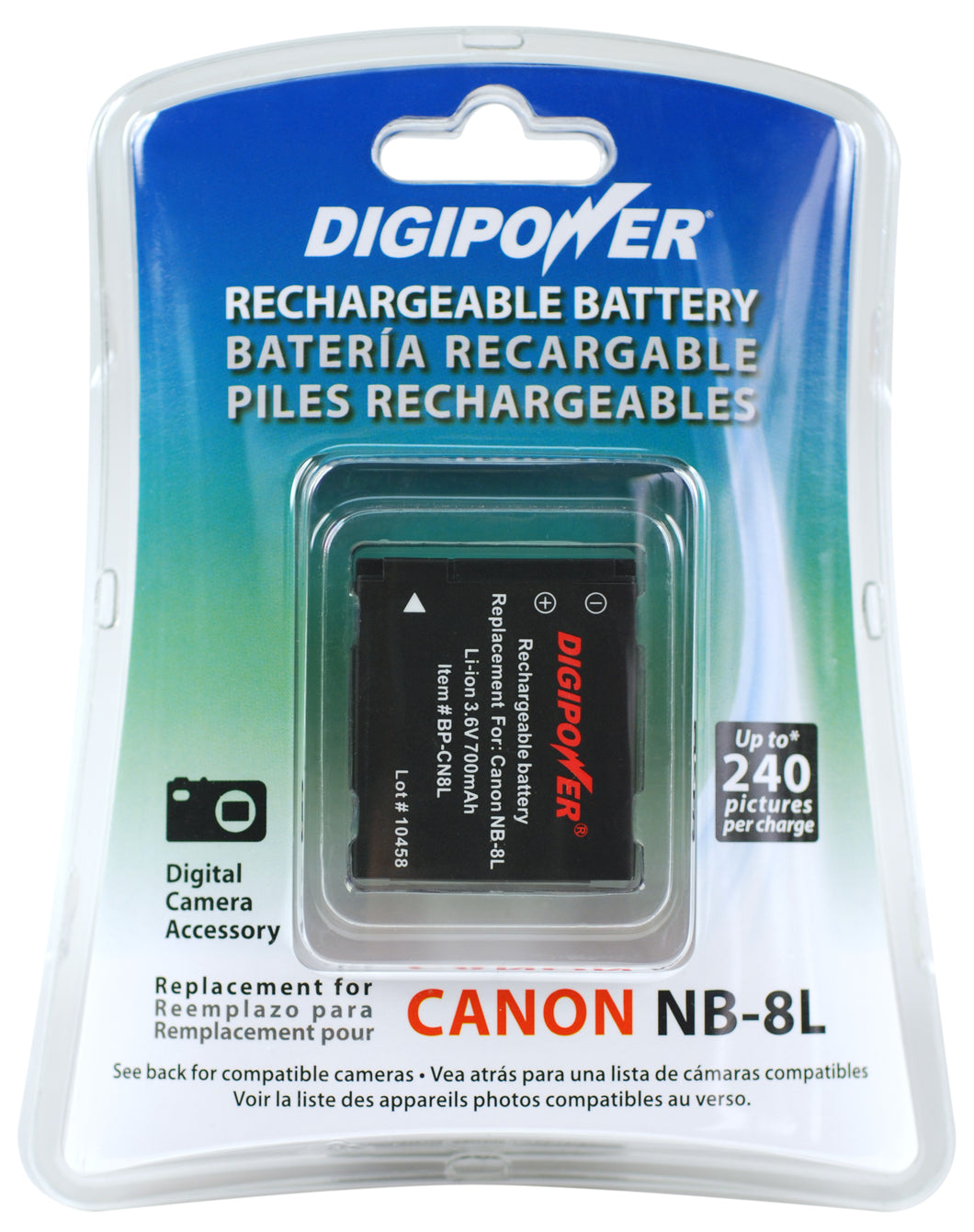 Digipower BP-CN8L digital camera battery, Replacement for Canon NB-8L battery pack