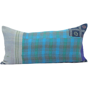 Blue Vintage Kantha Pillow