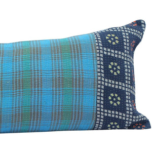 Blue Kantha Quilt Pillow