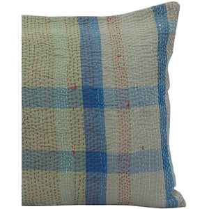 India Decor Beige and Green plaid Vintage Kantha Pillow