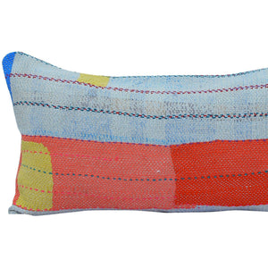 Red and blue Vintage Kantha Quilt Pillow