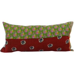 Burgundy Red Vintage Kantha Pillow