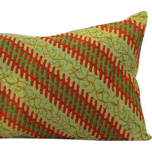 Green Vintage Kantha quilt pillow