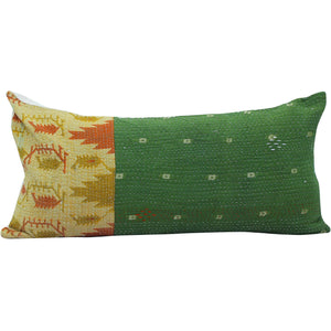 moss green vintage kantha quilt pillow