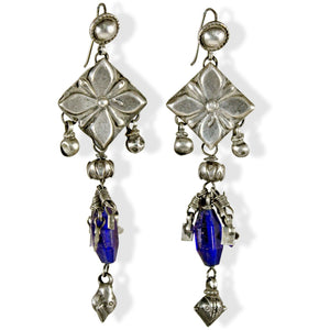 vintage India silver blue earrings