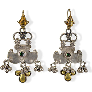 vintage india silver tribal earrings