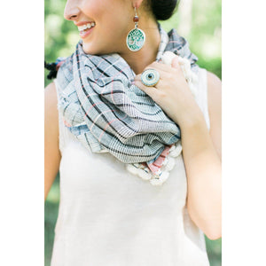 Organic Cotton Scarf with Indigo Stripes and Pom Poms