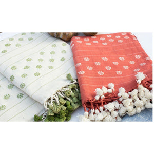 Organic Khadi Cotton Scarf - White & Green