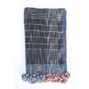 Handwoven Khadi Cotton Scarf - Indigo & Red