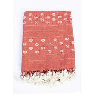 Organic Khadi Cotton Scarf - Deep Orange