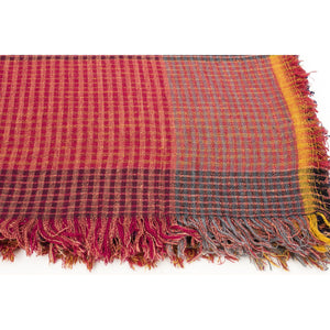 Handwoven Khadi Cotton Scarf - Red & Blue