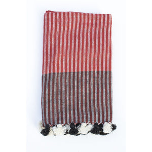 Handwoven Khadi Cotton Scarf - Red & Black