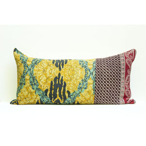 Yellow Kantha Pillow Cover