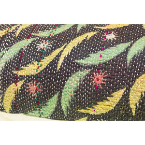 Black Kantha Pillow Cover