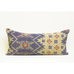 Purple Kantha Pillow Cover