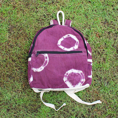 RING TIE-DYE COTTON CANVAS BACKPACK - Huedee