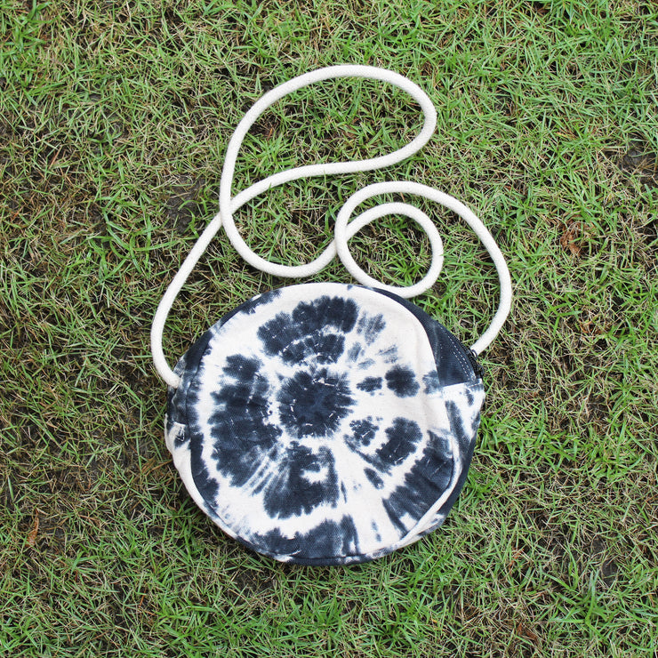 TIE-DYE SPIRAL CROSS BODY ROUND BAG