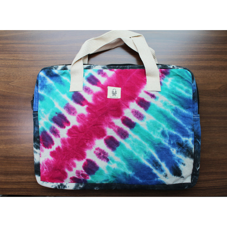 CANVAS DIAGONAL SHIBORI TIE-DYE LAPTOP BAG