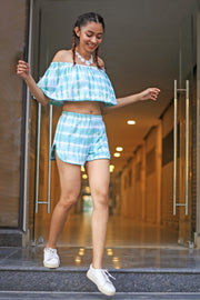 Huedee Coord Set Dress Off Shoulder with Shorts Green Shibori Tie dye