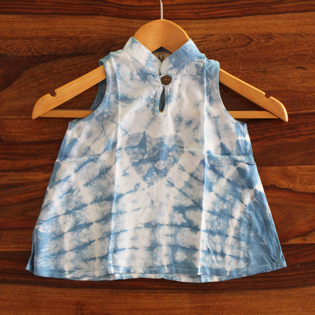 Toddler Crumple Tie-dye Chinese Collar Dress - Huedee