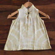 Toddler Crumple Tie-dye Chinese Collar Dress