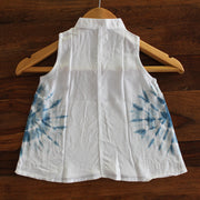 Toddler Circle Tie-dye Chinese Collar Dress - Huedee