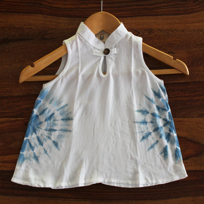Toddler Circle Tie-dye Chinese Collar Dress