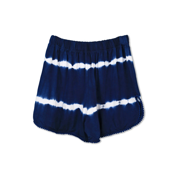 Huedee Women Shorts Navy Blue Stripe Tie dye