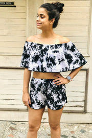 Tie-Dye Black Crumple Off-shoulder Top - Huedee
