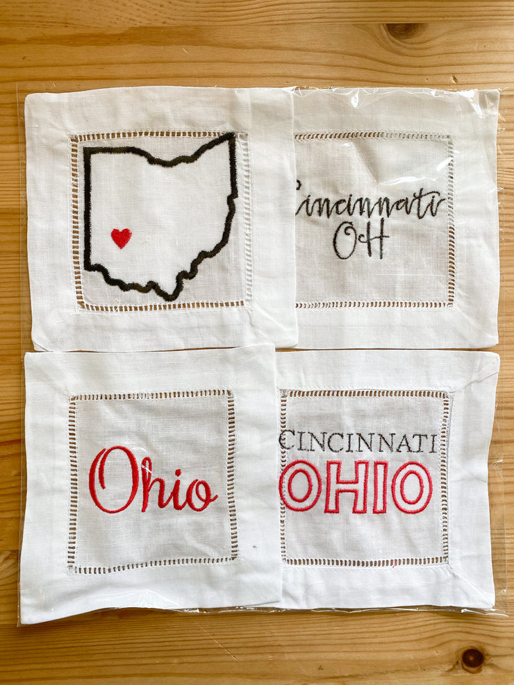 Set of 4 Cincinnati Ohio Cocktail Napkins