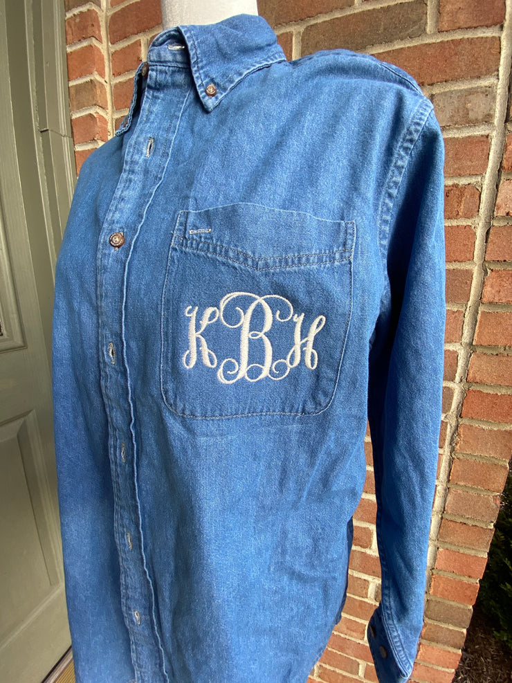 Monogram Denim Bridal Button Down - Bride