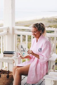 White Monogram Elizabeth Robe