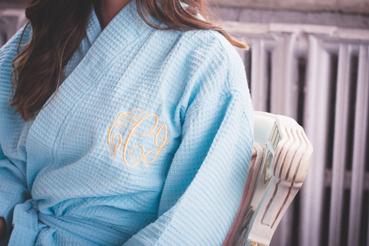 Light Blue Monogram Elizabeth Robe