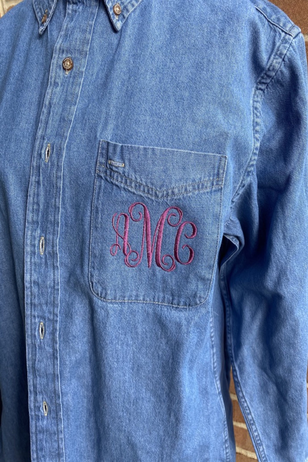 Monogram Denim Bridesmaid Button Down - Bridesmaid