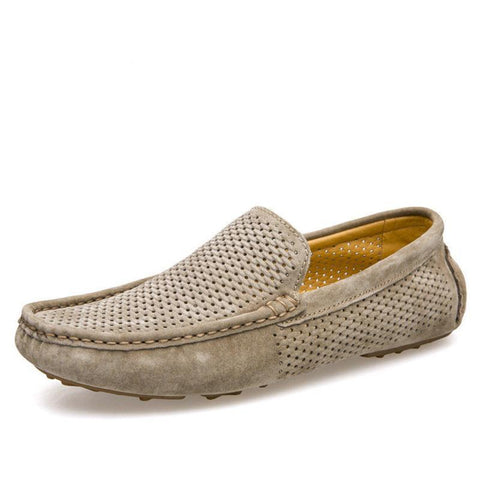 Mesh Pattern Genuine Leather Loafers