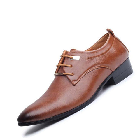 Oxford Leather Shoes with Pointed Toe British Style Shoes