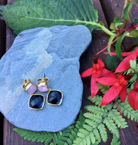 Rose Quartz and Black Onyx Delilah Earrings