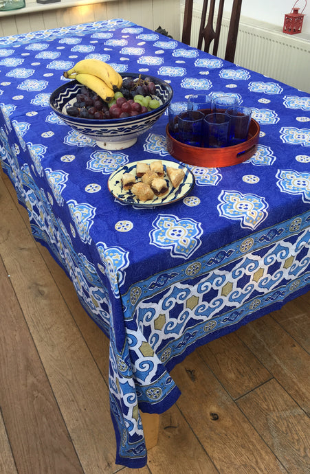 Blue Marrakesh Tablecloth